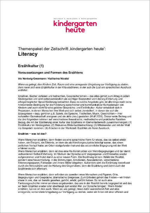 Der Bildungsbereich Sprache Kindergarten Heute