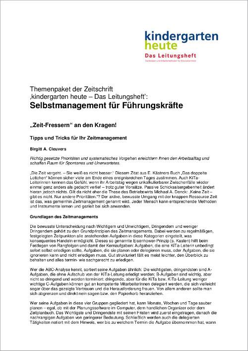 Management Organisation In Der Kita Themen Kindergarten Heute