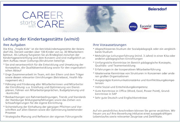 Career starts with Care Beiersdorf Leitung Kindertagesstätte (w/m/d)