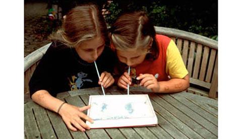 Bastelexperiment mit Styrorporkügelchen: Wirbelsturm im Pappkarton