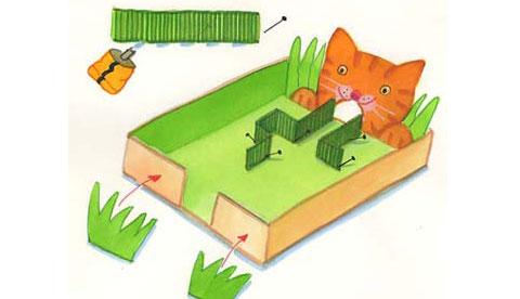 Geschicklichkeitsspiel aus Pappe: Hungrige Katze 4