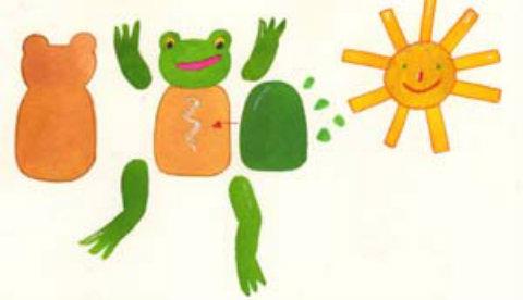 Kleine Bastelei aus Pappe und Filz: Lustiger Wetterfrosch