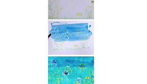 Malen mit Wachs: Leuchtende Linien 4