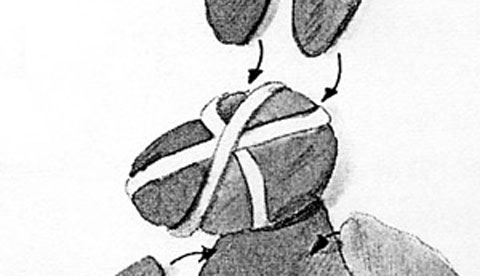 Osternest aus Kleisterpapier: Osterhäsin Löffelina