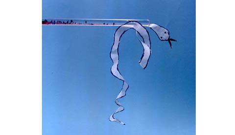 Versuch mit Elektrostatik: Papierschlange am Zauberstab