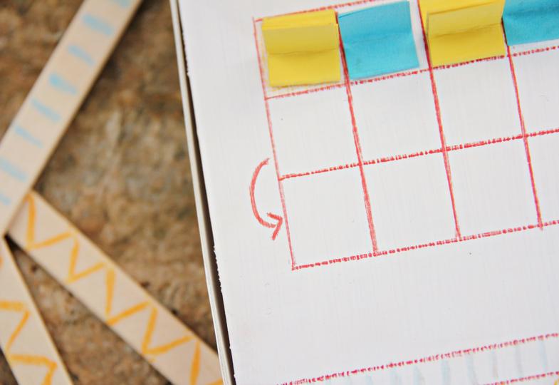 Zeichne am Ende der Reihe Pfeile für die Richtung ein.