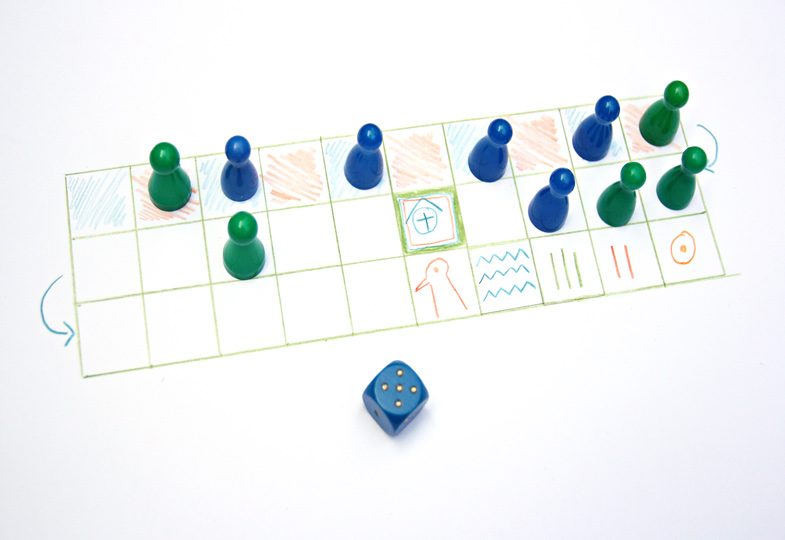 Tipp: Wer wenig Zeit hat, kann das Spielfeld auch auf ein Blatt Papier aufzeichnen. Als Spielsteine nimmt man Spielfiguren und anstelle der Wurfhölzer einen Würfel.