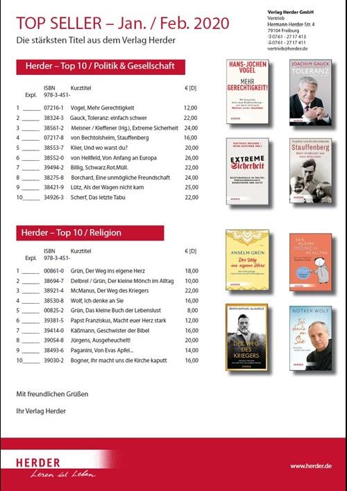 Verlag Herder Buchhandel: Topseller Politik, Gesellschaft, Religion