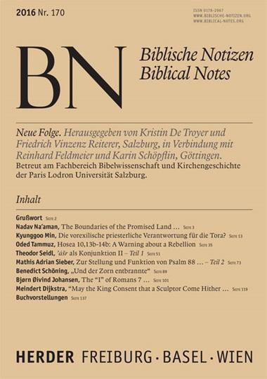 Biblische Notizen. Neue Folge, Aktuelles Heft