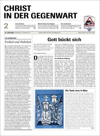 Christ in der Gegenwart. Zeitschrift für Religion, Glaube, Spiritualität, Gesellschaft, Aktuelles Heft