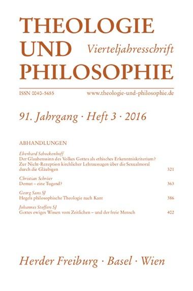 Theologie und Philosophie. Vierteljahresschrift, Aktuelles Heft