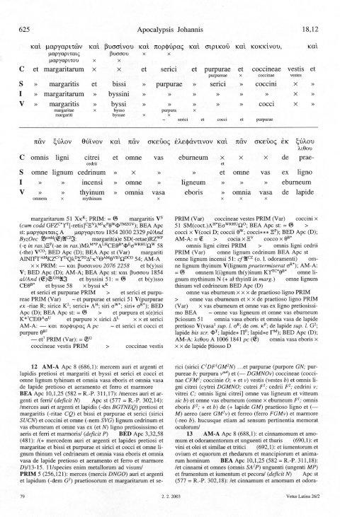 Vetus Latina: Dreigeteilte Textseite der Edition