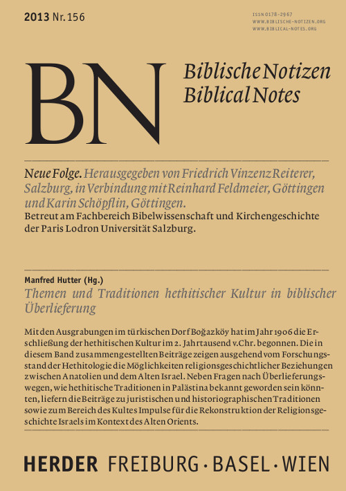 Biblische Notizen. Neue Folge 156 (2013)