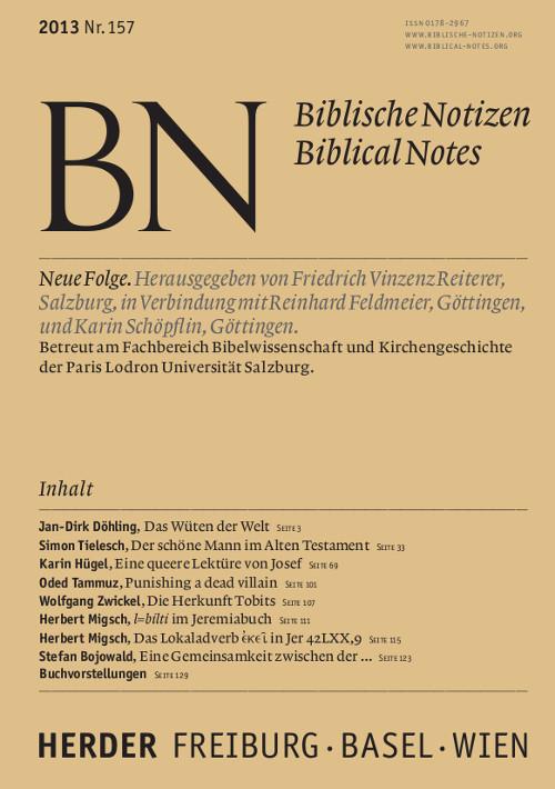 Biblische Notizen. Neue Folge 157 (2013)