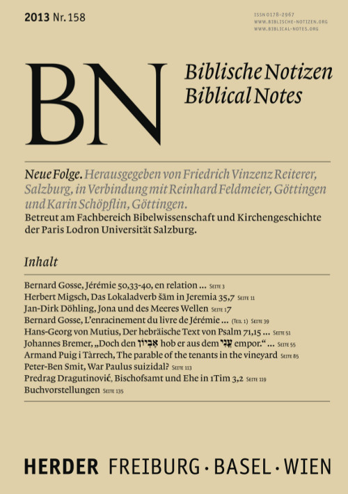 Biblische Notizen. Neue Folge 158 (2013)