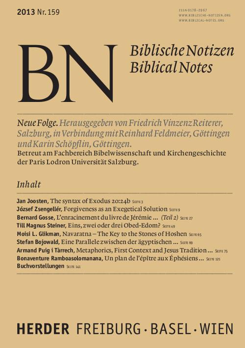 Biblische Notizen. Neue Folge 159 (2013)