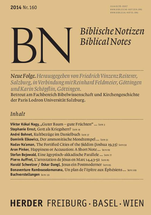 Biblische Notizen. Neue Folge 160 (2014)