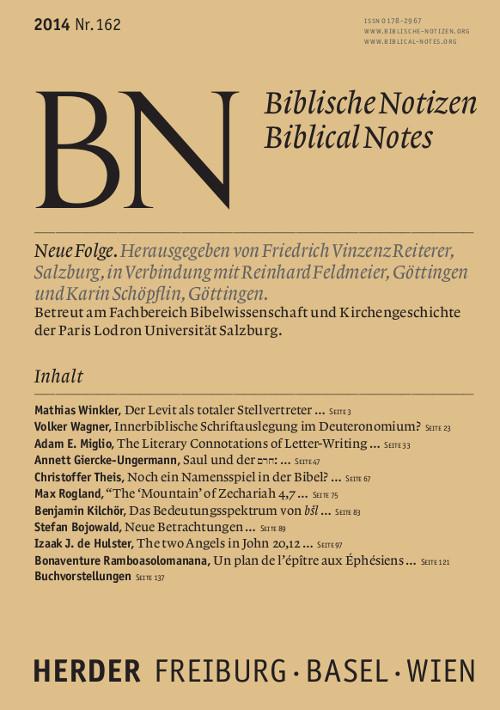 Biblische Notizen. Neue Folge 162 (2014)