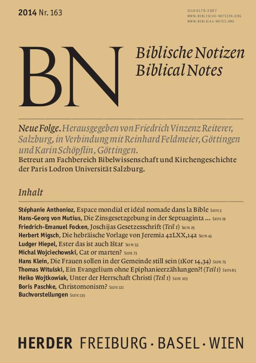 Biblische Notizen. Neue Folge 163 (2014)