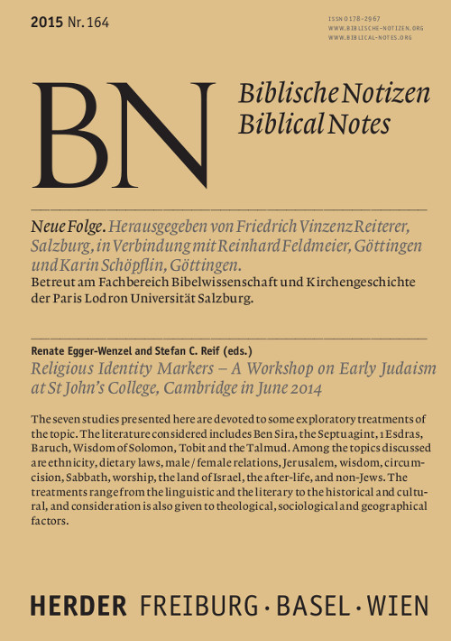 Biblische Notizen. Neue Folge 164 (2015)