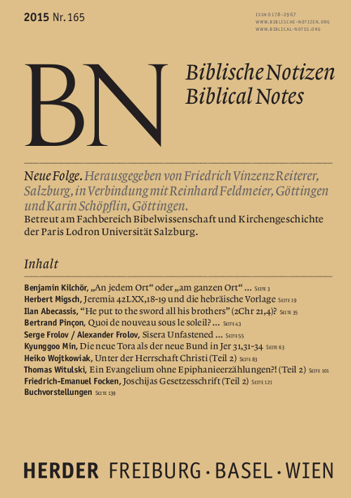 Biblische Notizen. Neue Folge 165 (2015)