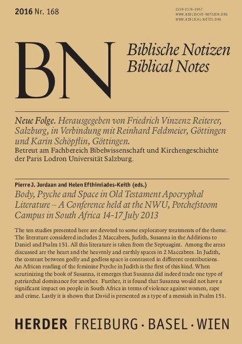 Biblische Notizen. Neue Folge 168 (2016)