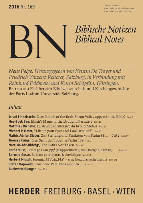 Biblische Notizen. Neue Folge 169 (2016)
