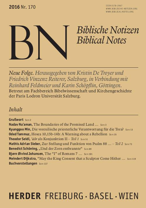 Biblische Notizen. Neue Folge 170 (2016)