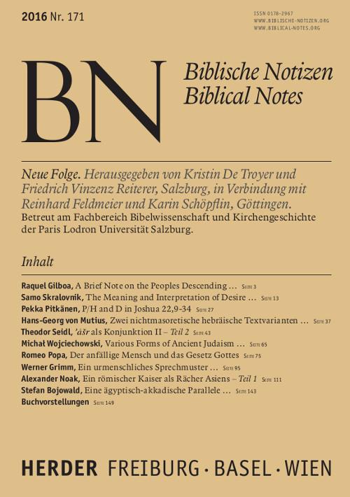 Biblische Notizen. Neue Folge 171 (2016)