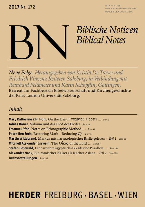 Biblische Notizen. Neue Folge 172 (2017)