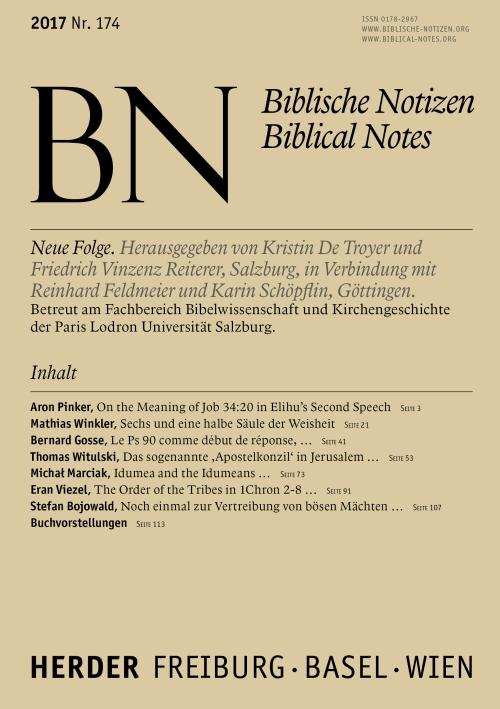 Biblische Notizen. Neue Folge 174 (2017)