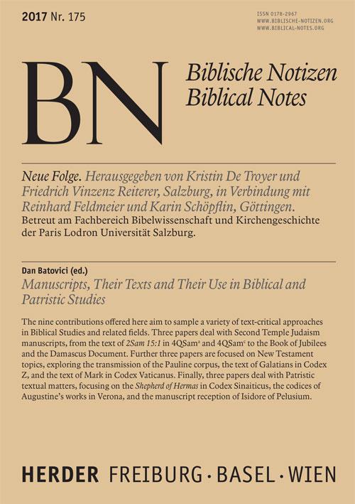Biblische Notizen. Neue Folge 175 (2017)