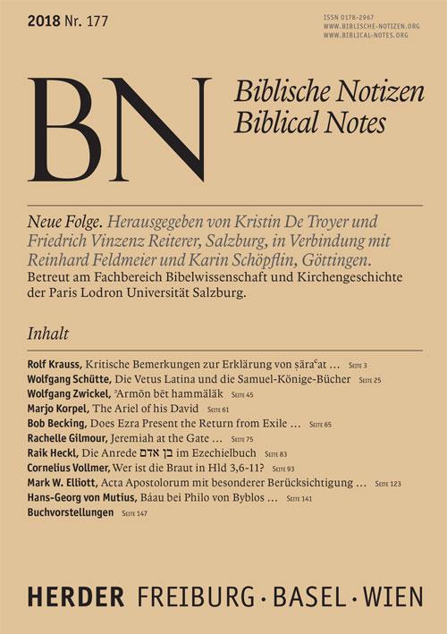 Biblische Notizen. Neue Folge 177 (2018)
