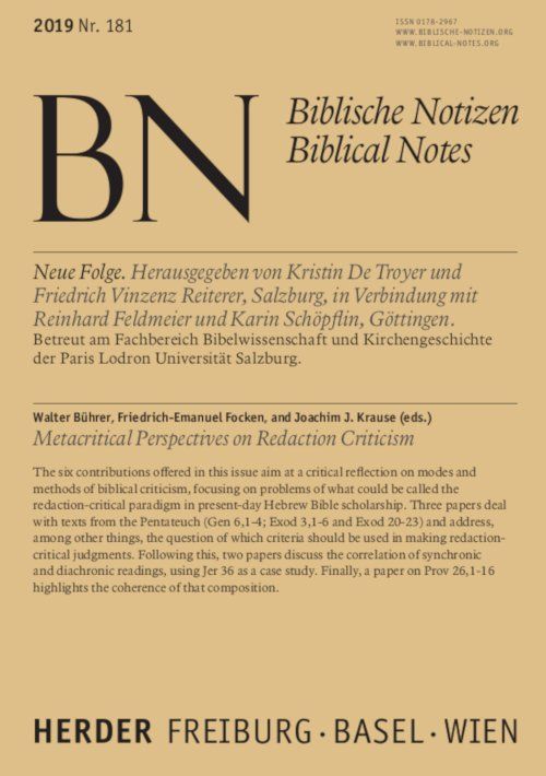 Biblische Notizen 181/2019