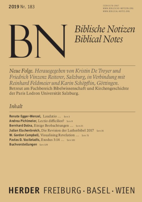 Biblische Notizen 183/2019