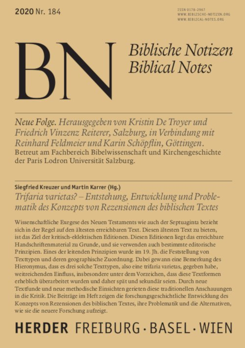Biblische Notizen 184/2020