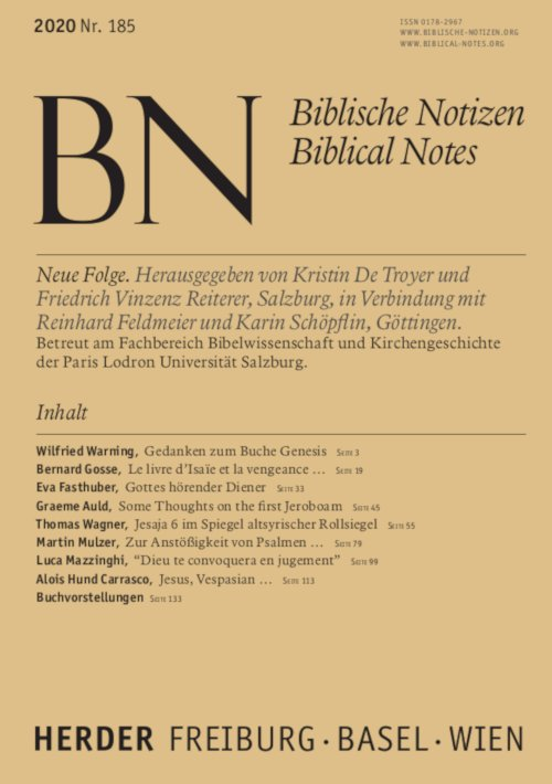 Biblische Notizen 185/2020
