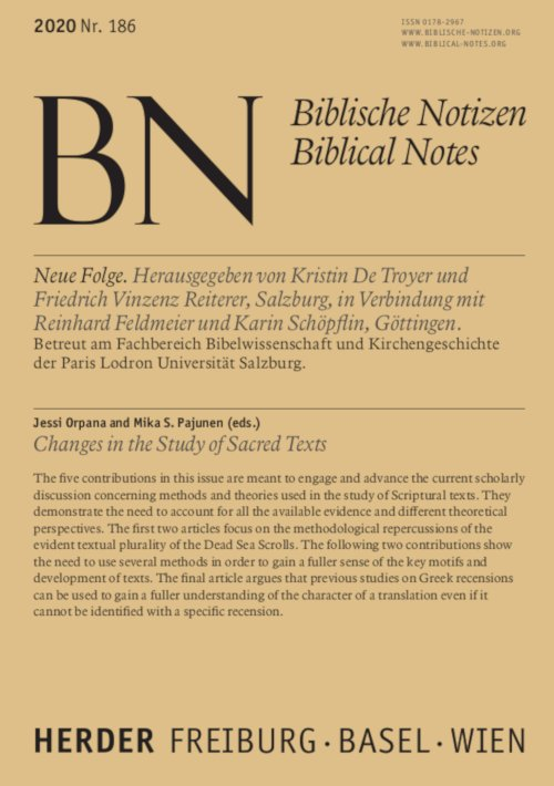 Biblische Notizen 186/2020