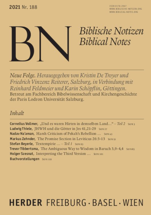 Biblische Notizen 188/2021
