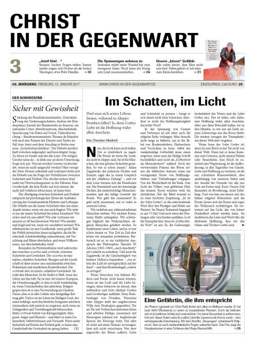 CHRIST IN DER GEGENWART 69. Jahrgang (2017) Nr. 3/2017
