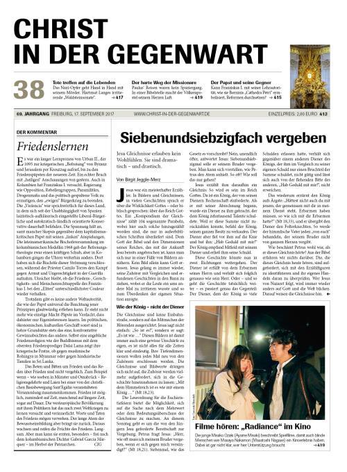 CHRIST IN DER GEGENWART 69. Jahrgang (2017) Nr. 38/2017