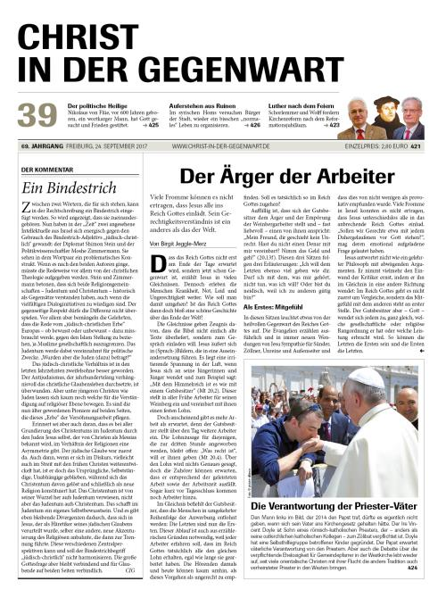 CHRIST IN DER GEGENWART 69. Jahrgang (2017) Nr. 39/2017