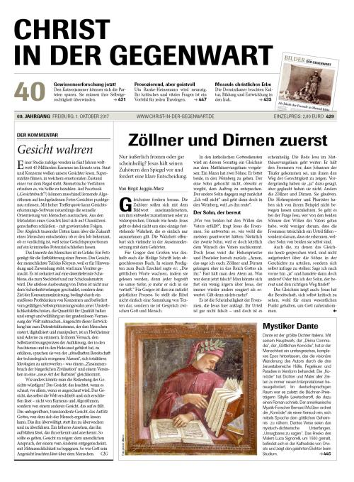 CHRIST IN DER GEGENWART 69. Jahrgang (2017) Nr. 40/2017