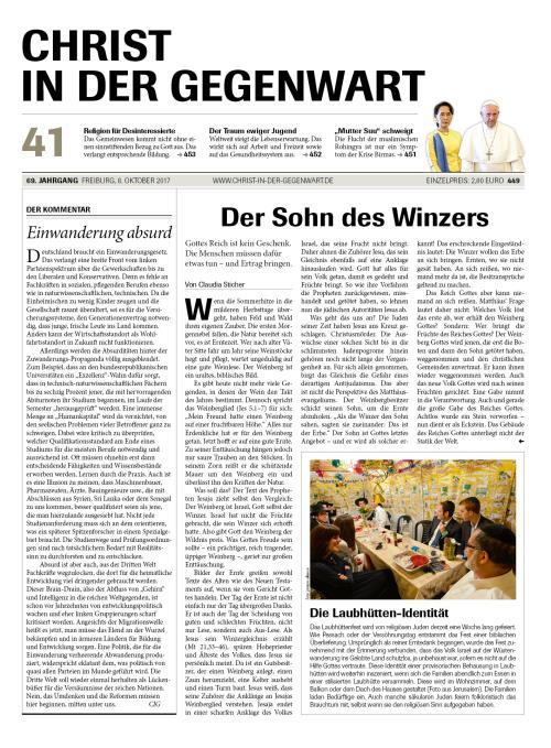 CHRIST IN DER GEGENWART 69. Jahrgang (2017) Nr. 41/2017