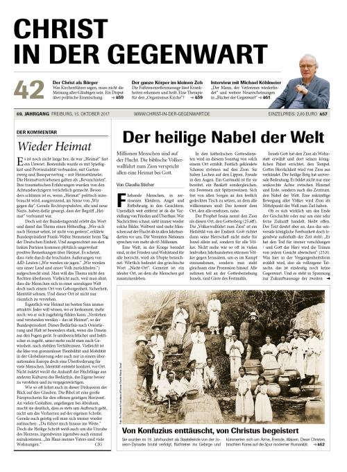 CHRIST IN DER GEGENWART 69. Jahrgang (2017) Nr. 42/2017