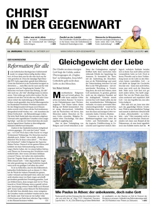CHRIST IN DER GEGENWART 69. Jahrgang (2017) Nr. 44/2017