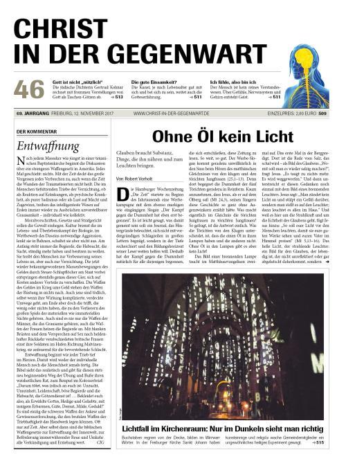 CHRIST IN DER GEGENWART 69. Jahrgang (2017) Nr. 46/2017