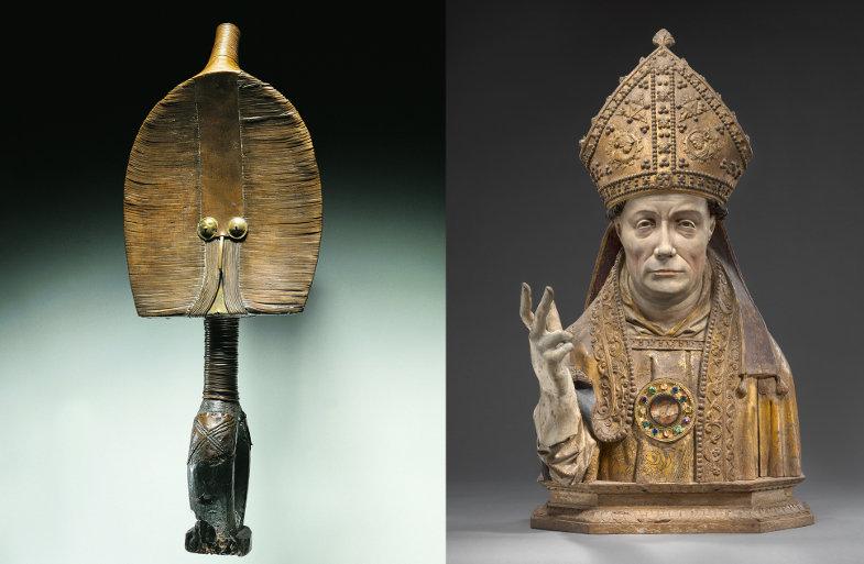 Heidnische und christliche Reliquiarfigur