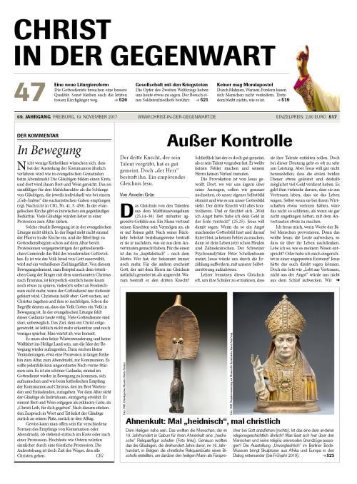 CHRIST IN DER GEGENWART 69. Jahrgang (2017) Nr. 47/2017