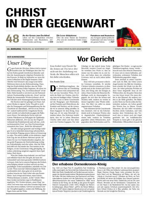 CHRIST IN DER GEGENWART 69. Jahrgang (2017) Nr. 48/2017